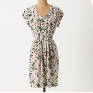 Anthropologie Odille Silk Foral Dress M